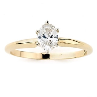 DFAC by Neda Behnam 14k Yellow Gold 1/2ct TDW Oval-cut Diamond Ring (H-I, SI1-SI2)