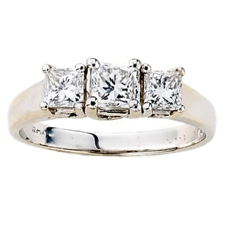 Neda Behnam DFAC 14k White Gold 7/8ct TDW Princess Cut 3-stone Diamond Ring (H-I, SI1-SI2)