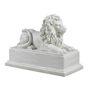 White Classic Lion Garden Statue