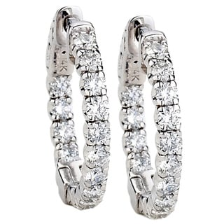 Diamonds For A Cure 14k White Gold 1 3/5ct Hoop Earrings (G-H, SI1-SI2)