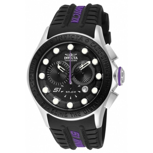 Invicta Men's 10843 'S1 Rally Racer' Black Dial Purple Accent Chronograph Watch