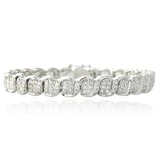 DB Designs Silvertone 1/2 Ct TDW White Diamond S and Oval Link Bracelet (I-J, I2-I3)