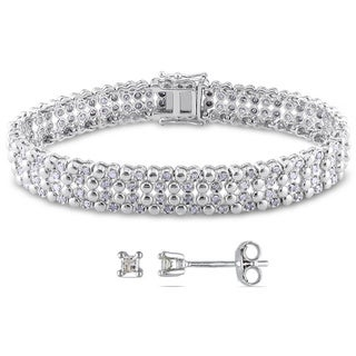 Miadora Sterling Silver 2ct TDW Diamond Bracelet With Bonus Earrings