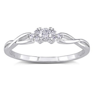 Miadora 10k White Gold 1/6ct TDW Diamond Ring with Bonus Matching Band