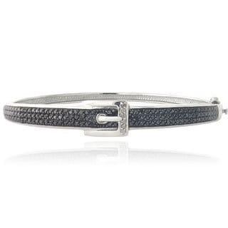 DB Designs Silvertone 1ct TDW Black and White Diamond Buckle Bangle Bracelet (I-J, I2-I3)