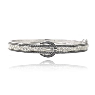 DB Designs Silvertone 1/2ct TDW Black and White Diamond Buckle Bangle Bracelet (I-J, I2-I3)