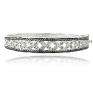 DB Designs Silvertone 1/2ct TDW Black and White Diamond Bangle Bracelet (I-J, I2-I3)