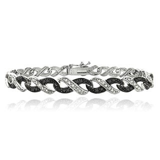 DB Designs Silvertone 1/2ct TDW Black and White Diamond Infinity Bracelet (I-J, I2-I3)