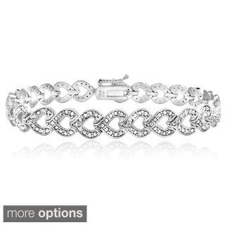 DB Designs 1/2ct TDW Diamond Heart Link Bracelet (I-J, I2-I3)