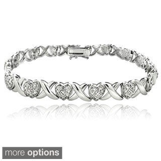 DB Designs 1/2ct TDW Diamond X and Heart Link Bracelet (I-J, I2-I3)
