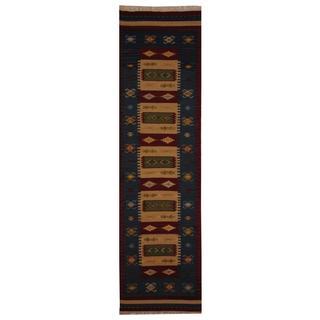 Indo Hand-woven Turkish Kilim Ivory/ Red Wool Rug (2'6 x 10')