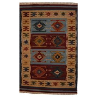 Hand-woven Herat Oriental Indo Turkish Kilim Red and Ivory Wool Rug (5' x 8')