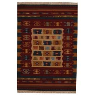 Indo Hand-woven Turkish Kilim Ivory/ Red Wool Rug (4' x 6')
