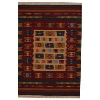 Herat Oriental Indo Hand-woven Turkish Kilim Ivory/ Red Wool Rug (4' x 6')