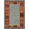Afghan Hand-knotted Kilim Light Blue/ Red Wool Rug (6'10 x 9'2)