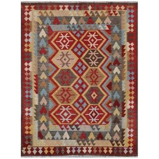 Herat Oriental Afghan Hand-woven Kilim Red/ Beige Wool Rug (5' x 6'5)