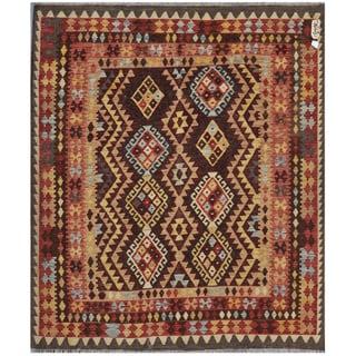 Afghan Hand-knotted Kilim Burgundy/ Salmon Wool Rug (5'4 x 6'2)