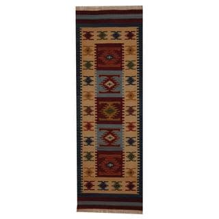 Indo Hand-woven Turkish Kilim Red/ Ivory Wool Rug (2'6 x 8')