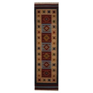 Indo Hand-woven Turkish Kilim Red/ Ivory Wool Rug (2'6 x 10')