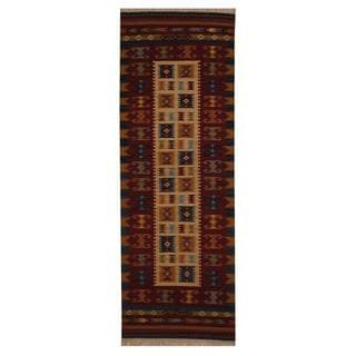 Indo Hand-woven Turkish Kilim Ivory/ Red Wool Rug (2'6 x 8')