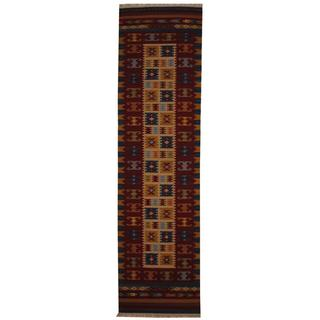 Indo Hand-woven Turkish Kilim Ivory/ Red Wool Rug (2'6 x 10')