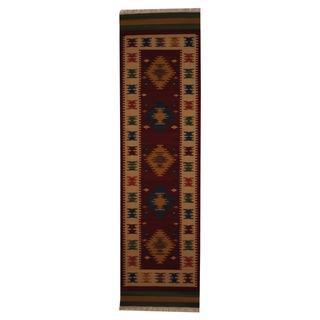 Herat Oriental Indo Hand-woven Turkish Kilim Red/ Ivory Wool Rug (2'6 x 10')