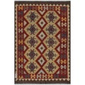 Afghan Hand-woven Kilim Red/ Gold Wool Rug (4'1 x 5'11)