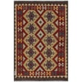 Afghan Hand-woven Kilim Red/ Gold Wool Rug (4'1 x 5'11)