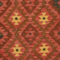 Afghan Hand-woven Kilim Salmon/ Brown Wool Rug (4' x 6'10)