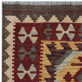 Herat Oriental Afghan Hand-woven Kilim Gold/ Maroon Wool Rug (4'2 x 5'7)