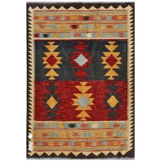 Afghan Hand-woven Kilim Red/ Grey Wool Rug (3'11 x 5'10)