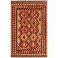 Afghan Hand-woven Kilim Red/ Gold Wool Rug (4'2 x 6'5)