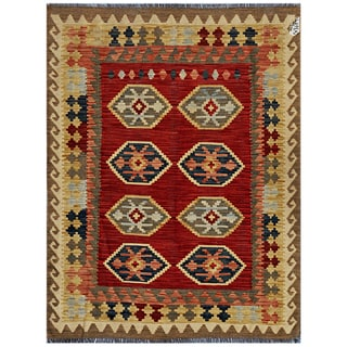 Afghan Hand-woven Kilim Red/ Gold Wool Rug (4'1 x 5'7)