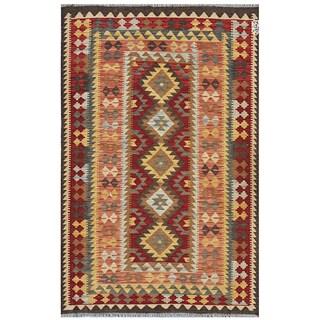 Afghan Hand-woven Kilim Red/ Salmon Wool Rug (4'1 x 6'2)
