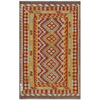Afghan Hand-woven Kilim Rust/ Gold Wool Rug (3'11 x 6'7)