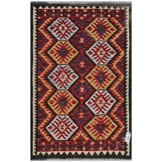 Afghan Hand-woven Kilim Red/ Gold Wool Rug (3'4 x 5'1)