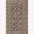 Hand Tufted Abstract Pattern Ivory/Black Wool Rug (5'x8')