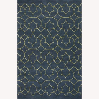 Hand Tufted Abstract Pattern Blue/Green Wool/Art Silk Rug (5'x8')