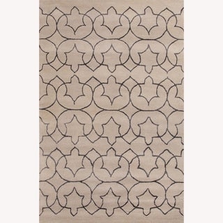 Hand Tufted Abstract Pattern Ivory/Grey Wool/Art Silk Rug (5'x8')