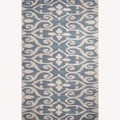 Hand-Tufted Floral Pattern Blue Wool Rug (5'x8')