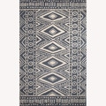 Hand-Tufted Geometric Pattern Blue/White Wool Rug (5'x8')