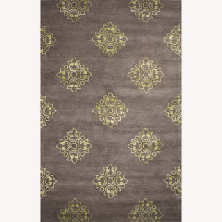 Hand-Tufted Abstract Pattern Grey/Green Wool/Art Silk Rug (5'x8')