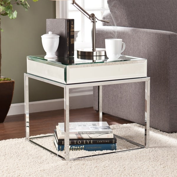 Harper blvd adelie mirrored end table 16057199 for Mirrored coffee table and end tables