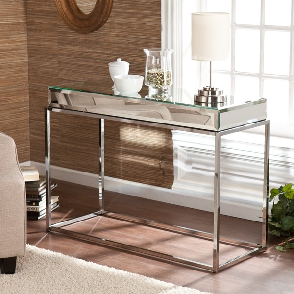 Upton home adelie mirrored sofa console table 16057200 shopping great deals - Mirrored console table overstock ...