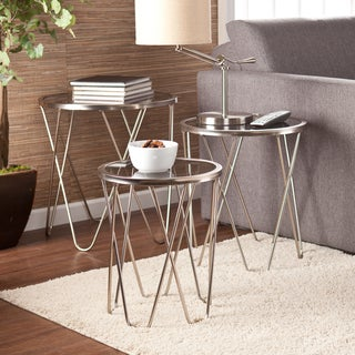Upton Home Danica Brushed Silver Nesting Table 3 Piece Set