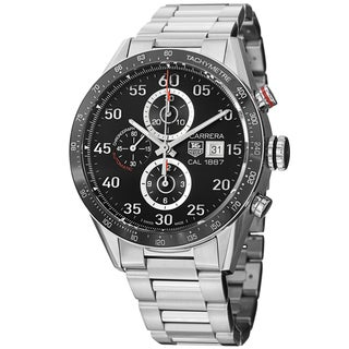 Tag Heuer Men's CAR2A10.BA0799 'Carrera' Black Dial Stainless Steel Chronograph Watch