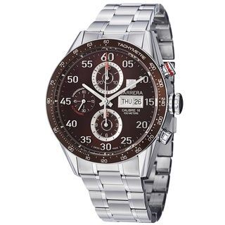 Tag Heuer Men's CV2A12.BA0796 'Carrera' Brown Dial Stainless Steel Bracelet Watch