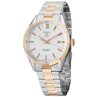 Tag Heuer Men's WV215E.BD0735 'Carrera' Silver Dial Rose Gold Stainless Steel Watch