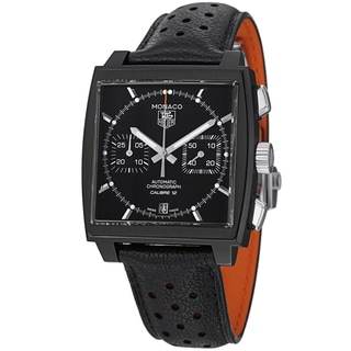 Tag Heuer Men's CAW211M.FC6324 'Monaco' Black Dial Black Leather Strap Watch