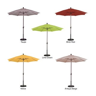 9-foot Aluminum/ Poly Crank and Tilt Umbrella with Base
